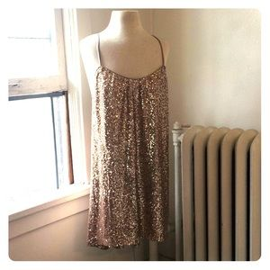 Justfab Gold Sequined Strappy Swing Dress XL NWT